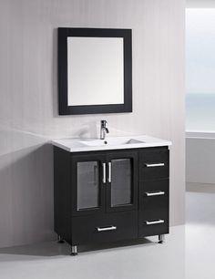 Design Element Solid Wood Stanton 36-Inch Modern Bathroom Vanity Set…