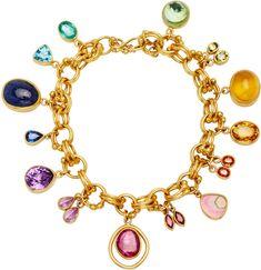Mallary Marks Jubilee 22K Gold Multi-Stone Charm Bracelet