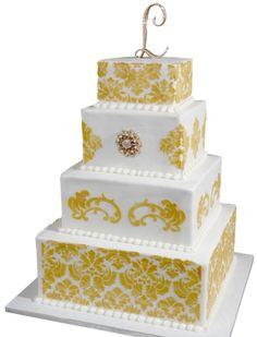 4 Tier Patterned Wedding Cake | Flour Power | San Diego