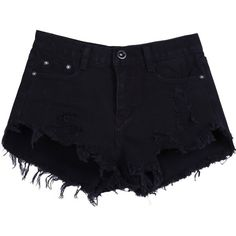 Sheinside Women's Black Buttons Ripped Fringe Denim Shorts ($18) ❤ liked on Polyvore featuring shorts, bottoms, pants, short, distressed jean shorts, destroyed shorts, ripped short shorts, ripped jean shorts and fringe shorts