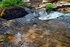 """http://alaninsingapore.blogspot.ae/2014/01/kbal-spean-angkor-cambodia.html: Kbal Spean. (ក្បាលស្ពាន) Angkor, Cambodiathe """"Valley of a 1000 Lingas"""" or """"The River of a Thousand Lingas"""". The motifs for stone carvings are mainly myriads of lingams (phallic symbol of Hindu god Shiva), depicted as neatly arranged bumps that cover the surface of a sandstone bed rock, and lingam-yoni designs"""
