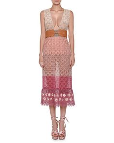 Sleeveless+Colorblock+Lace+Midi+Dress,+Pink+by+Agnona+at+Bergdorf+Goodman.