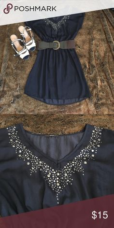 Navy blue dress with studded detail Light and breezy dress with gunmetal grey detail Soprano Dresses Mini