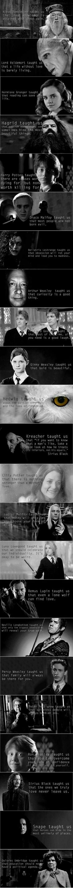 Each character taught me something special