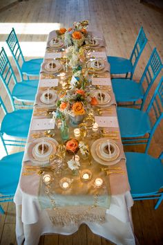 Tourquoise & Light Orange setting I love this . im thinking turquoise white and orange Orange And Turquoise, Teal And Gold, Orange Wedding, Summer Wedding, Dream Wedding, Hawaii Wedding, Wedding Planning Guide, Wedding Planner, Wedding Place Settings