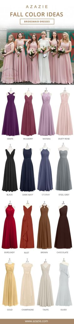 Love these autumn bridesmaid dress colors for a fall wedding - perfect for your attendants and wedding party!