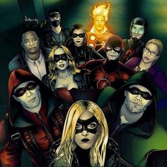 Black Canary, Green Arrow, Red Arrow, White Canary, Flash, Overwatch, Spartan, Huntress, Atom, Firestorm, and Wildcat.