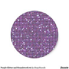 Purple Glitter and Houndstooth #2 Classic Round Sticker