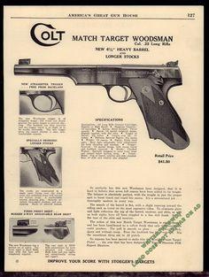 1940 COLT Match Target Woodsman .22 Long Pistol AD w/specs & original price…