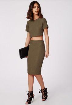 Alica Crepe Midi Skirt Khaki - Skirts - Midi Skirts - Missguided