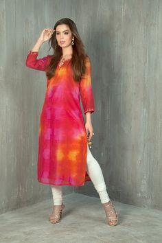 Moonga silk kurti with tie dye effect embellished with mirror and thread work