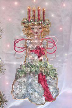 Libros Stitch-a-poco espíritu Brooke de la Navidad ornamento del pasado Cross Stitch gráfico sólo