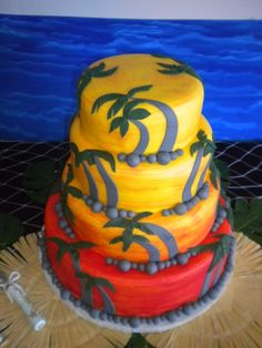 Tropical Wedding Cake Sweets Cake, Cupcake Cakes, Cupcakes, Wedding Cake Photos, Wedding Cakes, Palm Tree Cakes, Sunset Wedding, Second Weddings, Fancy Cakes