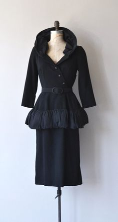 Vintage and rare 1950s Claire Pearone dress, quite dramatic with oversized rayon taffeta collar, plunging neckline, wool bodice asymmeterical buttons,