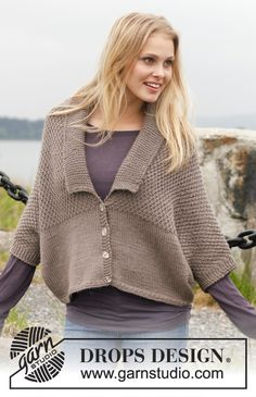 "Uptown Girl - Knitted DROPS jacket in double seed st with shawl collar in ""Lima"". Size: S - XXXL. - Free pattern by DROPS Design"
