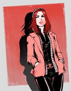Natasha Romanoff leaning against a wall, blowing bubbles in some bubblegum; she's wearing her Black Widow uniform with her Cap 2 stripey hoodie and jacket over it