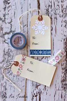 Washi Tape Gift Tags | Christmas