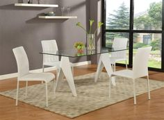 Fielding Modern Gloss White Glass PVC Dining Room Set