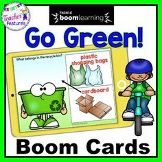 """Celebrate Earth Day! Use Digital Boom Cards to teach students about recyclable items & how to care for their environment with this interactive resource. What belongs in the Recycle Bin and how do we Go Green? Interactive Boom Cards digital task cards full of answer items to """"Drag & Drop"""". Pe... Elementary Science, Teaching Science, Teaching Kids, Kids Learning, Elementary Education, Earth Day Activities, Math Activities, Social Studies Resources, Teaching Resources"""