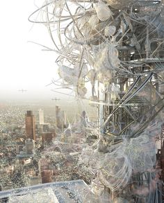2013 Royal College of Art (U.K.) graduate  Chang-Yeob Lee's final project. Extensions to a skyscraper that has outlived its original use, for the purpose of harvesting air pollution and reclaiming it for fuel. Brilliant idea, brilliant renderings. http://www.dezeen.com/2013/06/24/synthetechecology-by-chang-yeob-lee/