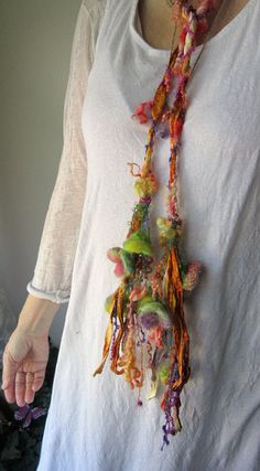 scarf enchanted forest fiber braid lariat - fairy party