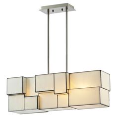 Artfully illuminate your dining room or foyer with this lovely chandelier, showcasing a cubist design and brushed nickel-finished hardware.
