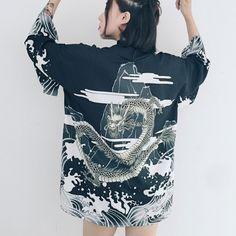Black/White Printed Kimono Coat SE10069