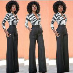 Striped blouse with black high waist wide leg slacks