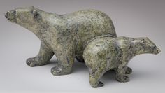 Bear and Cub by Tim Pee - Alaskan bear sculpture Native Art, Native American Art, Animals That Hibernate, Soapstone Carving, Inuit Art, Stone Sculpture, Clay Figures, Animal Sculptures, Beauty Art