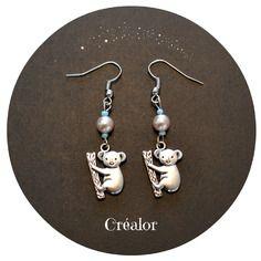 Boucles d'oreilles koala et  perle de verre grise