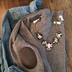 J. Crew Elbow Patch Sweater. This is so, so comfy!!!
