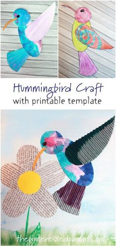 Hummingbird arts and craft for the spring and summer. Free printable template av… Hummingbird arts and craft for the spring and summer. Free printable template available for painting, coloring, mixed media and more. Spring Crafts For Kids, Crafts For Teens, Kids Crafts, Art For Kids, Kid Art, Painting Crafts Kids, Adult Crafts, Dot Painting, Toddler Crafts
