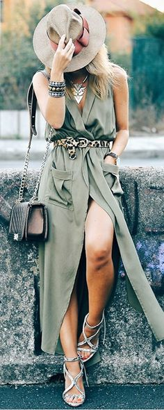 Casual chic down town style. Army Green Pockets Split Maxi Dress With Belts from shein.com. Love the belt decoration and i can change it for different styles.
