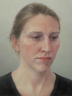 """""""Erica"""" - Robert Bauer, oil on canvas on wood, 2010 {figurative realism art female head woman face portrait painting}"""
