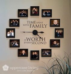 Time Spent With Family Clock Giveaway is part of diy-home-decor - I am giving away one of these beautiful Picture Frame Clocks from Uppercase Living Enter the giveaway and be sure to share with your friends Family Clock, Family Wall Decor, Living Room Decor, Family Tree Wall, Family Family, Family Room, Family Picture Walls, Living Room Ideas, Country Wall Decor