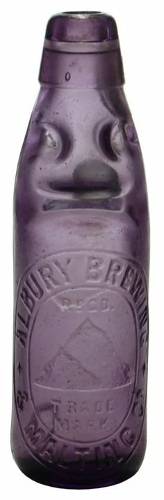 """Albury Brewing & Malting Co., Mountain trade mark (Company motto was """"Above All as Pure as Snow""""). Old Bottles, Vintage Bottles, Glass Bottles, Trade Mark, Purple Things, Purple Amethyst, Brewing, Mason Jars"""