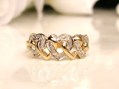 Vintage Hearts Entwined Diamond Wedding Band Two Tone Gold Stacking Ring Vintage Promise Ring Si Heart Shaped Diamond Ring, Diamond Stacking Rings, Gold Rings Jewelry, Bronze Jewelry, Jewellery, Unique Wedding Bands, Diamond Wedding Bands, Black And White Earrings, Gold Ring Designs