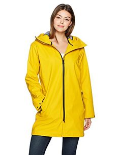 """Helly Hansen Women's Copenhagen Raincoat, Essential Yellow, X-Large - The copenhagen raincoat represents Helly Hansen take on what a sporty and technical helox+ style should look like today. With waterproof zippers closing on the front and on the pockets, a bonded fully waterproof and fabric and relaxed """"boyfriend"""" fit it represents a practical and fashionable Dire..."""