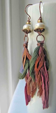 Silks++handmade+earrings+beaded+earrings+ribbon+by+somethingtodo,+£14.00