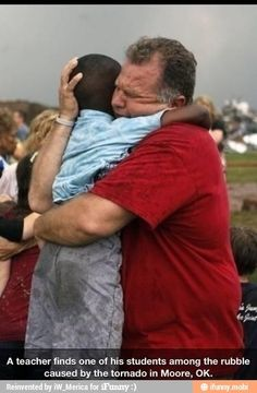 photo - Jim Routon hugs Hezekiah Darbon at Briarwood Elementary school after a tornado destroyed the school in south OKC Oklahoma City, OK, Monday, May Near SW and Hudson. By Paul Hellstern, The Oklahoman We Are The World, In This World, I Smile, Make Me Smile, Oklahoma Tornado, Oklahoma City, Travel Oklahoma, Hugs, Human Kindness