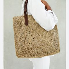 Straw Bag Tote Straw Tote BagBeach Bag di MOOSSHOP su Etsy, $39.95