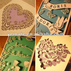 Láser de corte de papel del arte hecho a mano la tarjeta de cumpleaños, hecho a mano 3d tarjeta de cumpleaños, hecho a mano tarjetas de cumpleaños