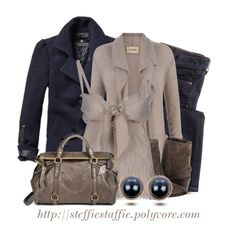Navy & Taupe Winter Layers, created by steffiestaffie on Polyvore