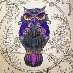 Benim güzel baykuşum 😍 #art #artoftheday #artwork #book #brightcolours #baykuş #color #coloring #draw #drawing #enchantedforest #gizemliorman #hobby #johannabasford #kitap #leaf #mor #gri #grey #owl #painting #relax #therapy #yaprak #purple