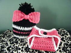 The Horse Town Hooker: Big Bow Baby Beanie and Diaper Cover Crochet Cap, Crochet Bebe, Crochet Girls, Crochet For Kids, Free Crochet, Beginner Crochet, Irish Crochet, Diy Baby Hats Sew, Crochet Baby Clothes