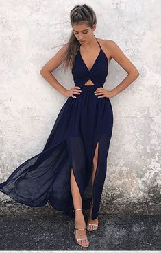 Navy Blue Prom Dress,Chiffon Prom Dress,Evening Dresses,Prom Gowns,Elegant