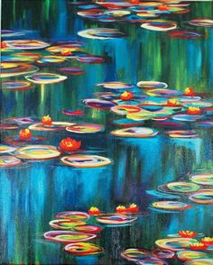Monet's Water Lilies 16 x 20 Fine Art Canvas by MaryElizabethArts, $95.00