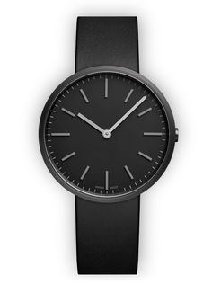 M37 Two-hand watch in PVD Black / with black nappa leather strap