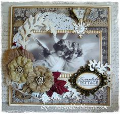 Christmas Card created by LLC DT Member Tina Klix, using both image and papers from Inkido.