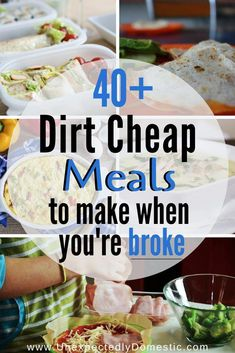 Check out these easy dirt cheap meals to make when you're on a budget. Here's the cheap food to buy when you're broke!Check out these easy dirt cheap meals to make when you're on a budget. Here's the cheap food to buy when you're broke! Dirt Cheap Meals, Cheap Meals To Make, Inexpensive Meals, Food To Make, Cheap Food, Cheap Healthy Dinners, How To Eat Cheap, Easy Cheap Healthy Recipes, Simple Cheap Meals
